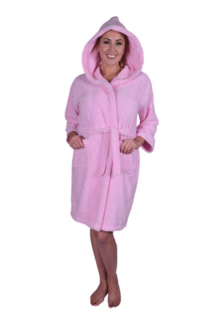 Puffy Cotton Teen / Petite Unisex Hoodie Bathrobe 100% Natural Soft Cotton Bathrobes Puffy Cotton Light Pink L