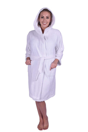 Puffy Cotton Teen / Petite Unisex Hoodie Bathrobe 100% Natural Soft Cotton Bathrobes Puffy Cotton White L