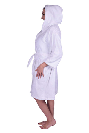 Puffy Cotton Teen / Petite Unisex Hoodie Bathrobe 100% Natural Soft Cotton Bathrobes Puffy Cotton