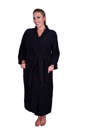 Puffy Cotton Adult Unisex Kimono Bathrobe 100% Natural Soft Cotton Bathrobes Puffy Cotton Black