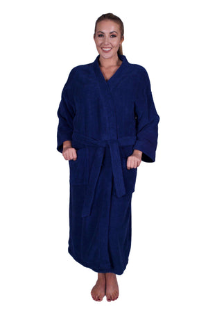 Puffy Cotton Adult Unisex Kimono Bathrobe 100% Natural Soft Cotton Bathrobes Puffy Cotton Navy Blue