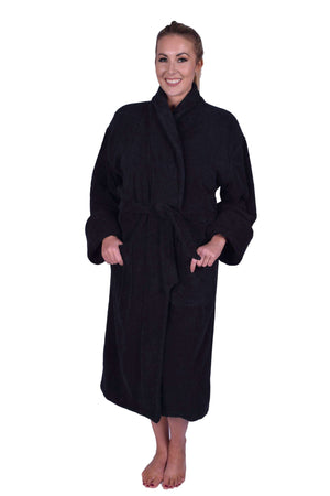 Puffy Cotton Heavy Adult Unisex Shawl Collar Bathrobe 100% Natural Soft Cotton Bathrobes Puffy Cotton Black L