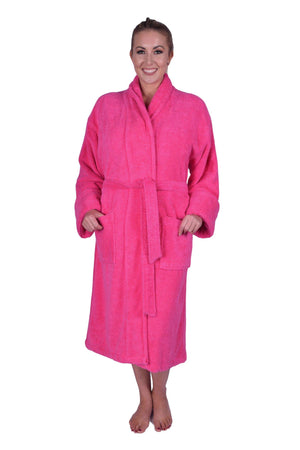 Puffy Cotton Heavy Adult Unisex Shawl Collar Bathrobe 100% Natural Soft Cotton Bathrobes Puffy Cotton Hot Pink L