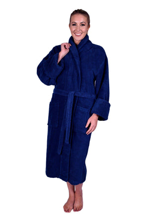 Puffy Cotton Heavy Adult Unisex Shawl Collar Bathrobe 100% Natural Soft Cotton Bathrobes Puffy Cotton Navy Blue L