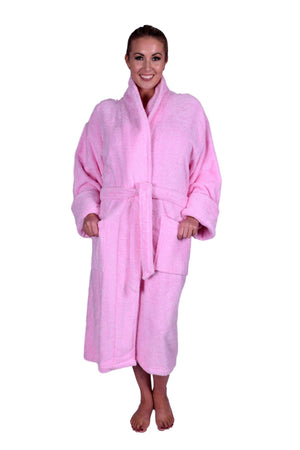 Puffy Cotton Heavy Adult Unisex Shawl Collar Bathrobe 100% Natural Soft Cotton Bathrobes Puffy Cotton Light Pink L