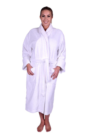 Puffy Cotton Heavy Adult Unisex Shawl Collar Bathrobe 100% Natural Soft Cotton Bathrobes Puffy Cotton White L