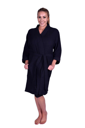 Puffy Cotton Adult Unisex Waffle Kimono Bathrobe 100% Natural Soft Cotton Bathrobes Puffy Cotton Black