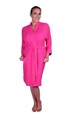 Puffy Cotton Adult Unisex Waffle Kimono Bathrobe 100% Natural Soft Cotton Bathrobes Puffy Cotton Hot Pink