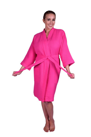 Puffy Cotton Adult Unisex Waffle Kimono Bathrobe 100% Natural Soft Cotton Bathrobes Puffy Cotton