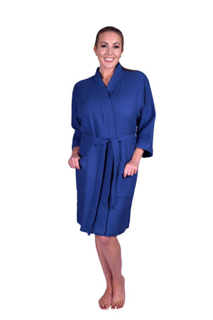 Puffy Cotton Adult Unisex Waffle Kimono Bathrobe 100% Natural Soft Cotton Bathrobes Puffy Cotton Navy Blue