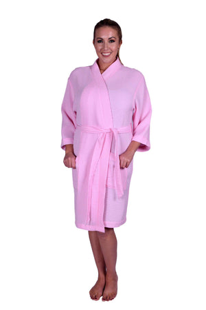 Puffy Cotton Adult Unisex Waffle Kimono Bathrobe 100% Natural Soft Cotton Bathrobes Puffy Cotton Light Pink