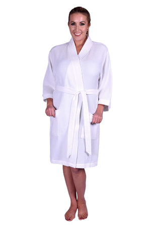 Puffy Cotton Adult Unisex Waffle Kimono Bathrobe 100% Natural Soft Cotton Bathrobes Puffy Cotton White