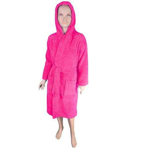 Puffy Cotton Kids  Unisex Hoodie Bathrobe 100% Natural Soft Cotton ( Ages : 7 to 11 )