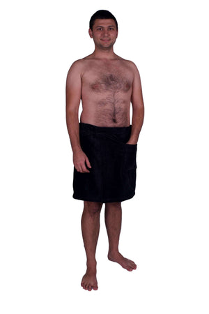 Puffy Cotton Terry Velour Cloth Spa Body Wrap / Towel Wrap for Men Spa Wraps Puffy Cotton Black L