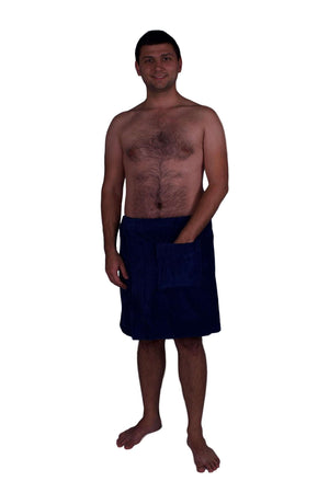 Puffy Cotton Terry Velour Cloth Spa Body Wrap / Towel Wrap for Men Spa Wraps Puffy Cotton Navy Blue L