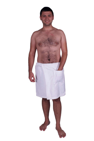 Puffy Cotton Terry Velour Cloth Spa Body Wrap / Towel Wrap for Men Spa Wraps Puffy Cotton White L