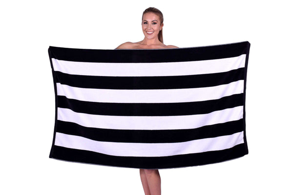 Puffy Cotton Luxury Cabana Striped Velour Beach Towel