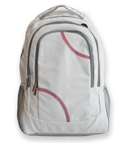 This is a white baseball backpack with red baseball stitching and black trim.