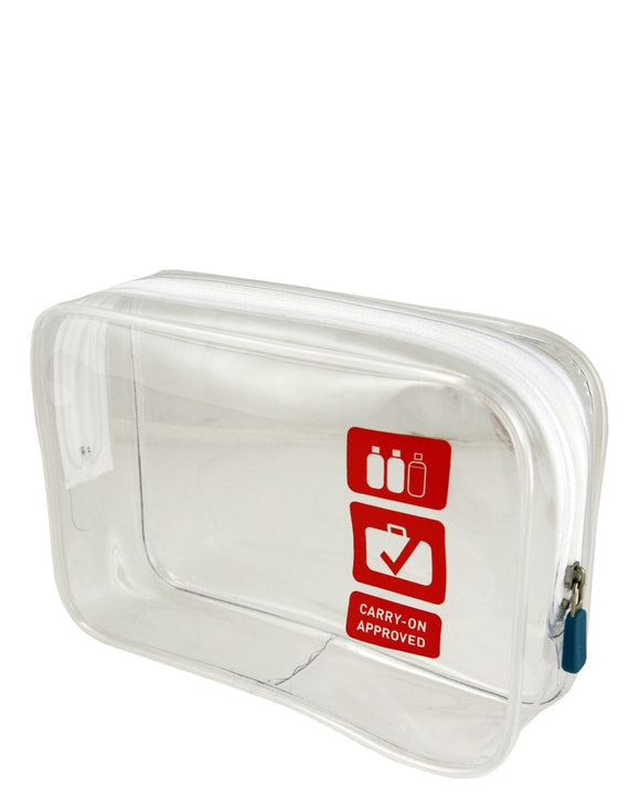 A TSA transparent travel quart size zippered carry-on bag w/ red print.