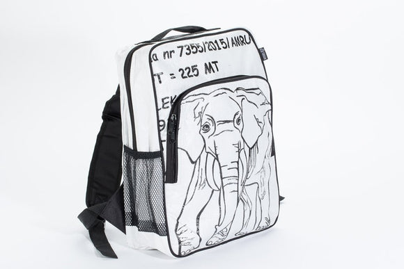 A square shaped backpack made w/ recycled materials w/ padded shoulder straps, mesh side cargo pockets, a front pocket and made of re-purposed fish feed bags. It has a white background w/ large black elephant on the front.