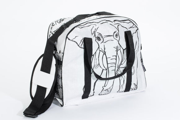A White multi-purposed cross body bag made w/ recycled material w/ large black elephant design, carrying handles & shoulder strap.