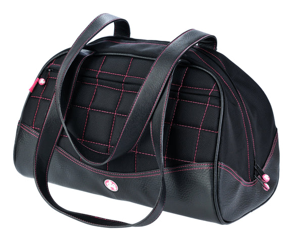 A black duffel with pink stitching made with premium ballistic nylon with faux-leather detail and interior pockets for wallet, pens and phone. Soft faux-leather shoulder straps, quilted design and printed interior lining.