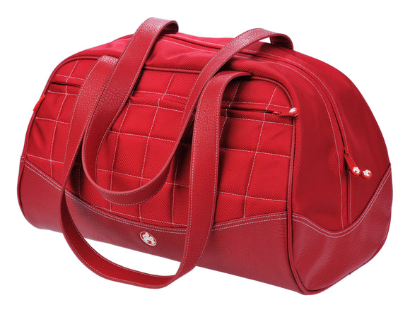 A red duffel with white stitching made with premium ballistic nylon with faux-leather detail and interior pockets for wallet, pens and phone. Soft faux-leather shoulder straps, quilted design and printed interior lining.