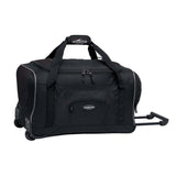 "Black 22"" Adventure Rolling Duffel bag w/ in-line blade wheels, pull up handle & Padded carry handle."