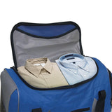 "Open Blue & Grey Rolling Duffle Bag 22"" w/ in-line blade wheels & large storage space"