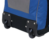 "Bottom of Blue & Grey Rolling Duffle Bag 22"" w/ in-line blade wheels & large storage space"