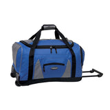 "Blue & grey 22"" Adventure Rolling Duffel bag w/ in-line blade wheels, pull up handle & Padded carry handle."