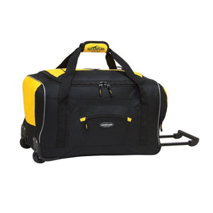 "Black & yellow 22"" Adventure Rolling Duffel bag w/ in-line blade wheels, pull up handle & Padded carry handle."