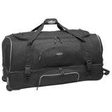 "Black 30"" Adventure 2-Section Drop-Bottom Rolling Duffel, In-line blade wheels, telescopic handle & 2-section drop bottom."