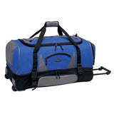 "Blue & grey 30"" Adventure 2-Section Drop-Bottom Rolling Duffel Bag, In-line blade wheels, telescopic handle & drop bottom"
