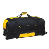 "Black & yellow 30"" Adventure 2-Section Drop-Bottom Rolling Duffel, In-line blade wheels, telescopic handle & 2-section drop bottom."