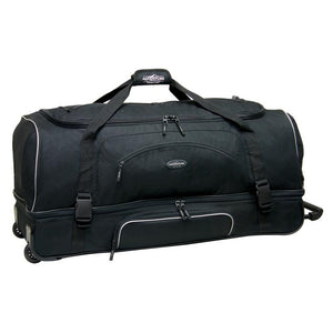 "Black & yellow 36"" Adventure 2-Section Drop Bottom Rolling Duffel Bag. In-line blade wheels, telescopic handle & Shoe pocket."