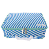 This is a Flight 001 blue striped Space Pak clothes packing cube.