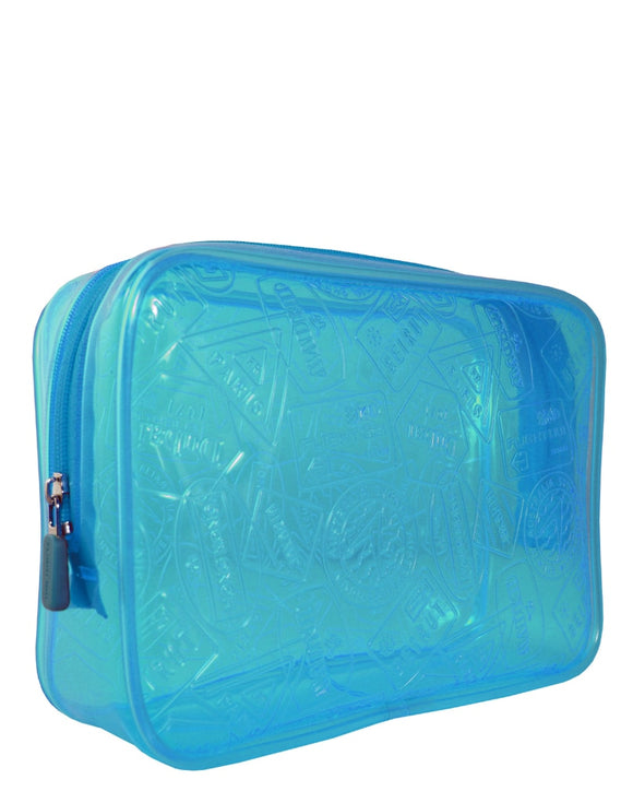 This is a cobalt transparent vinyl TSA Carry-On Quart Bag Neon X-Ray.