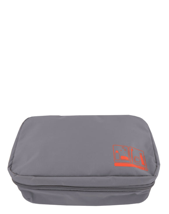 This is a grey travel Flight 001 Spacepak hanging toiletry bag / dopp kit.