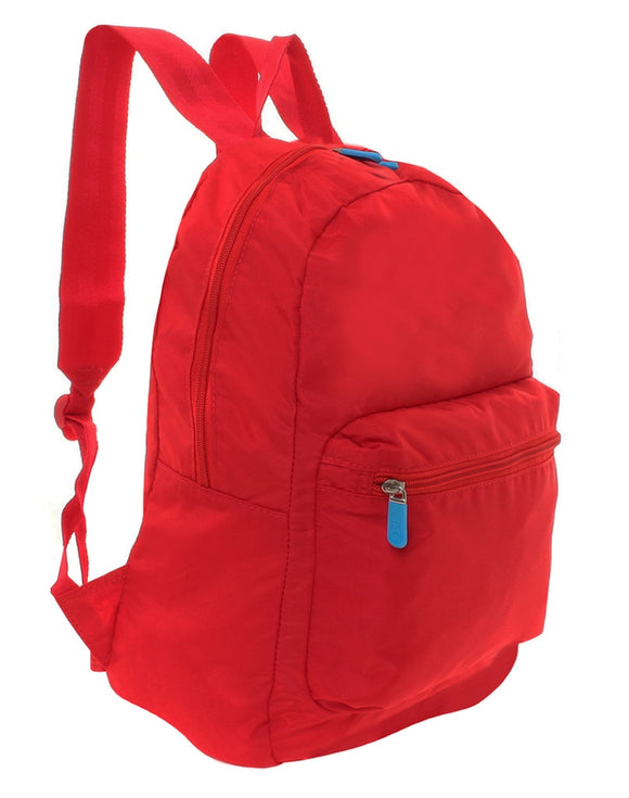 This is a red Flight001 expandable backpack that goes from pocket size to full size.
