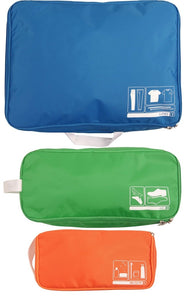 This is a multi-colored 3 pc Flight 001 travel spacepak set packing cube system.
