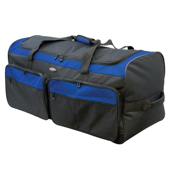 A black & blu 3 wheel collapsable & expandable rolling duffel.