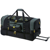 "A black & green 30""/36"" TPRC 2-Section Drop Bottom Rolling Duffel Bag w/ telescopic handle, in-line blade wheels & 2-section drop-bottom."