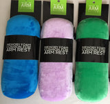 4 colors of armpillow V2 made w/memory foam and soft velour arm rests for airplane seats.
