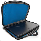 "An open black 13""-14"" Alienware Vindicator slim laptop carrying case w/alien logo & black, padded shoulder strap."