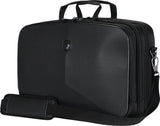 "A black 13""-14"" Alienware Vindicator Laptop Briefcase w/TSA checkpoint-friendly compartment, padded tablet pocket & padded laptop compartment, removable non-slip padded shoulder strap & top load nylon carrying handles"
