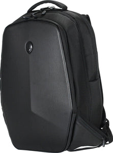 "A black 18"" Alienware Vindicator Laptop Backpack w/ weather-resistant, non-slip base, Padded laptop pockets, power adapter bag, 3 large main compartments + several additional pockets, padded laptop compartment, padded pocket for tablet device, zippered pockets & headphone toggle strap."