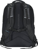 "Back view of black 18"" Alienware Vindicator Laptop Backpack w/ weather-resistant, non-slip base, Padded laptop pockets, power adapter bag, 3 large main compartments + several additional pockets, padded laptop compartment, padded pocket for tablet device, zippered pockets & headphone toggle strap."
