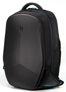 "A black 15""-17"" Alienware Vindicator 2.0 Laptop Backpack w/ alien logo padded laptop & tablet compartments + Additional compartments & pockets"