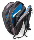 "An open 2520D Ballistic Nylon black 13"" Alienware Vindicator 2.0 Laptop Backpack w/ alien logo, Padded laptop & tablet compartments w/ blue interior."